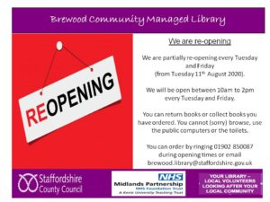 Brewood Library reopening poster